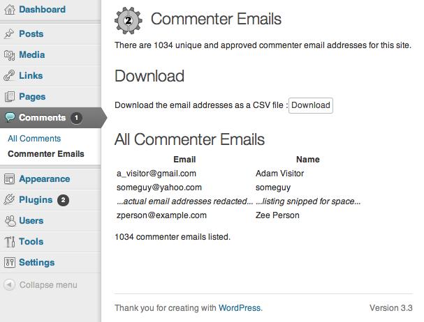 جمع آوری ایمیل نظر دهندگان در وردپرس - گرفتن پشتیبان از ایمیل کاربران