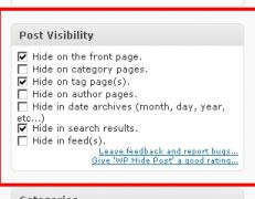 عدم نمایش پست دلخواه در صفحه اصلی وردپرس با افزونه WP Hide Post