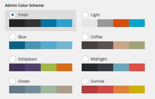 سفارشی سازی الگوی رنگ بخش مدیریت وردپرس